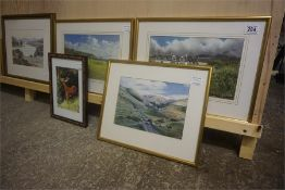 Five Framed prints and watercolours, including stag, hill scene, golf scene etc
