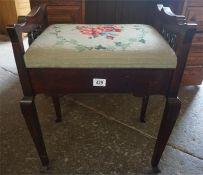 Mahogany piano stool, with hinged needlepoint top