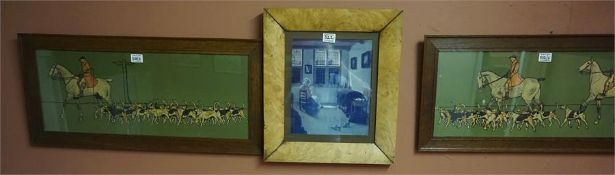 Pair of Snaffle type hunting prints, with a maple framed print (3)