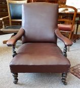 Edwardian mahogany stained gents study occasional chair, covered in simulated brown leather