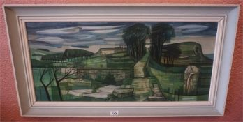 A framed landscape, oil on board with buildings in the fore ground by K H. Gresty