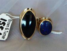 9ct gold ladies gem set ring, plus a 9ct gold Lapis Lazuli set ladies dress ring (2)
