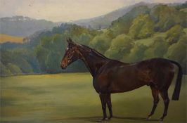 Oil painting of Bay horse in landscape signed M E Chadburn, 24 x 30 inch and a print of Millreef.