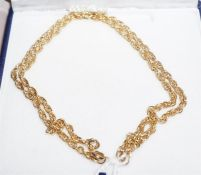 "A 9ct yellow gold chain, 18"" long"