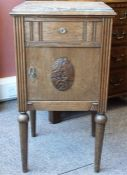 Oak marble top bedside cabinet