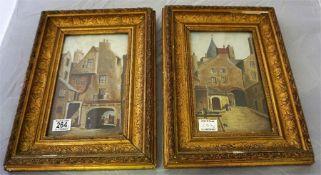 A pair of gilt framed watercolours of Edinburgh Closes, signed J Hutton