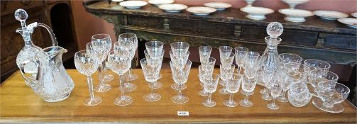 A suite of Waterford crystal glasses, in the Lismore range, to include decanter, hock glasses etc