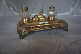 Victorian Electro plated inkstand, engraved and dated 1877