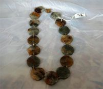 Silver mounted moss agate necklace