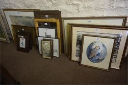 Collection of prints and pictures and wall mirror, to include a watercolour by Jim Page (18)