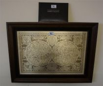 A framed constellation map by the Franklin mint, with booklet