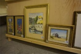 Four Framed prints and watercolours
