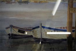 Watercolour by J W Rickerby enitled Moored at Walberswick and a watercolour of landscape with foot