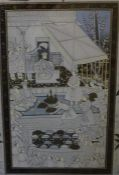 An original etching by C. Martin, signed artist's proof and a framed oriental print.