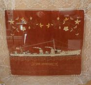 A framed sailors embroidery of HMS Sportive, Circa 1920, 26 inches by 28 inches
