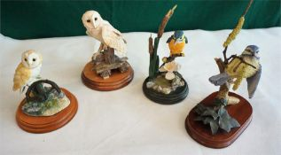 Two Border Fine Art Owls, with two Models of King Fisher and Blue Tit, (4)