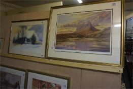 A watercolour of winter scene with house and woods and a limited edition signed print Evening Sulven