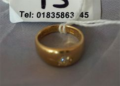 18ct Gold Gypsy style ring set with a single diamond, ring size L