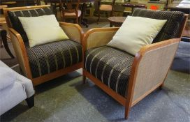 Pair of modern cane mounted armchairs
