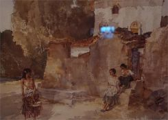 Two Sir William Russell Flint Prints, one village scene and one of the temple bar.