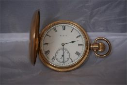American Gents gold plated full hunter pocket watch.
