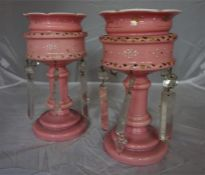 A pair of Victorian pink opaque glass Girandoles, with glass lustres (2)