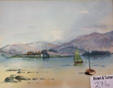A Watercolour of Marys Bouquet signed Moana R Cheyne, a still life fruit bowl and a loch scene by
