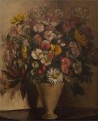 Framed oil on canvas, still life of flowers in vase signed J.B.Oakes.