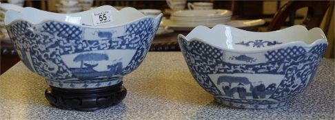 A pair of blue and white Chinese bowls