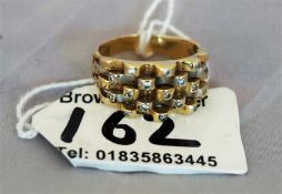 14ct gold and diamond basket weave ring, size P