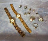Two Ladies bracelet wristwatches and miscellaneous jewellery