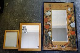 A Ebonised mirror, with pine framed mirror and photo frame, (3)