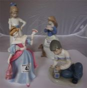 Royal Doulton statuette of Amy, also with 3 Nao figures (4)