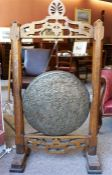 Victorian Oak and Bronze dinner gong with beater
