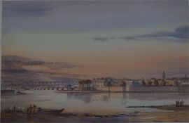 Signed Artist proof of Berwick harbour with all the bridges in view, by Fred Stott