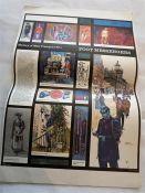 Set of 7 posters, history of mail transport, plus 4 small books on the G.P.O