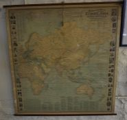 A vintage school map of Europe and Asia, dated 1906