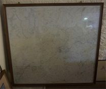A large Oak framed survey map of Kelso and surrounding area