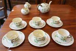 A Belleek 20 piece tea set, circa late 19th early 20th century, comprising of tea pot,