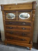 A Late Victorian pine chest of drawers, raised on plinth stand