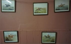 Seven framed Hunting prints and a framed coaching scene (8)