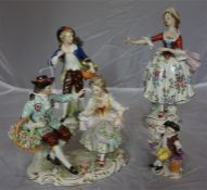 Four continental porcelain figures