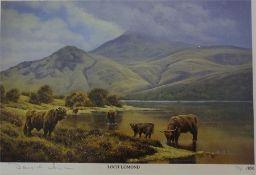 Three framed limited edition signed prints of Loch Doon, Highlands & Loch Lomond signed