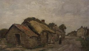 James Riddell A.R.S.A R.S.W, 1857-1928, Oil painting of village street scene unsigned,