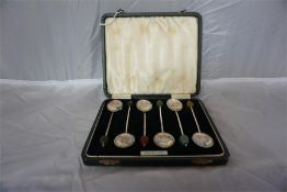 Set of six sterling silver bean top coffee spoons in case