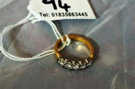 18ct Gold dress ring, set with 5 Diamonds in a row approx 1.2 carats