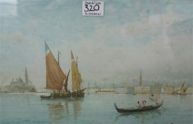 Watercolour of Venice, unknown artist, in giltwood slip and outer frame 24 x 39 cm