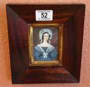 Antique rosewood framed miniature, probably on an ivory backing, depicting a female in blue dress 8.