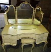 French style painted dressing table and serpentine fronted chest of drawers with gilt raised decorat