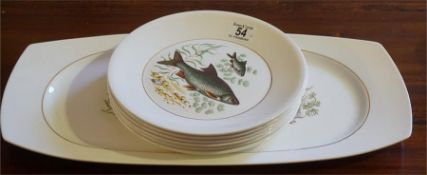 A Norwegian 7 piece fish service by Figgjo Flint, circa 1960's, comprising of large platter